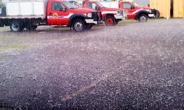 Rain and hail fall Saturday afternoon (Dec 17) at Pohakuloa Training Area. Photo by @robmad87 special to Hawaii 24/7