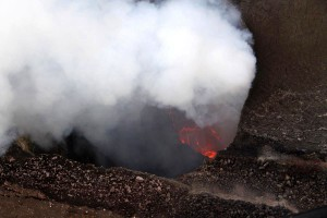 This near-vertical view from the helicopter shows the surface of the lava lake at Halemaumau. Photo courtesy of USGS/HVO