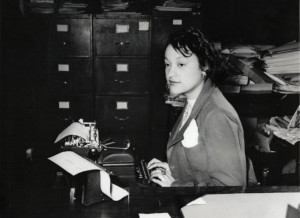 Miss Clara Camille Carroll performs clerical work in 1943. Photo courtesy of the National Archives