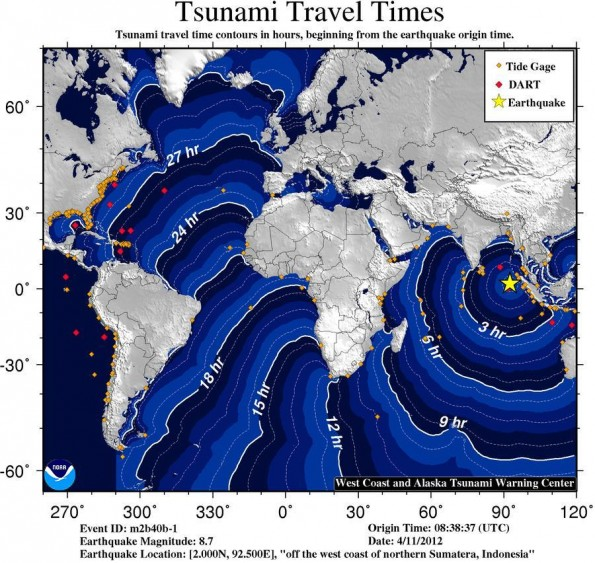 Projected travel times for a tsunami in the Indian Ocean.
