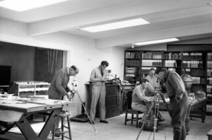 Calibrating the magnetometers inside the Hawaiian Volcano Observatory library. From left to right: Ruy Finch, Gordon Macdonald, Burt Loucks, and Joel Swartz in 1950. Photo courtesy of USGS/HVO