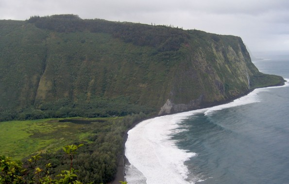 The Muliwai Trail can be seen zig-zagging up the Western wall of Waipio Valley where it leads to Waimanu Valley. Hawaii 24/7 File Photo