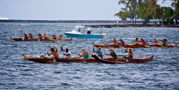 Keauhou Canoe Club's Mixed Men and Women crew finishes first ending a day of racing in Hilo Bay Sautrday (May 26). Photography by Baron Sekiya | Hawaii 24/7.