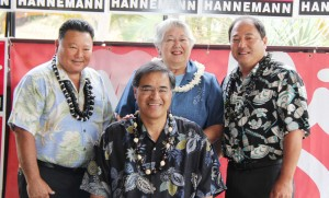 "Mayor Alan Arakawa and former mayors Charmaine Tavares and James ""Kimo"" Apana with Mufi Hannemann (front)"