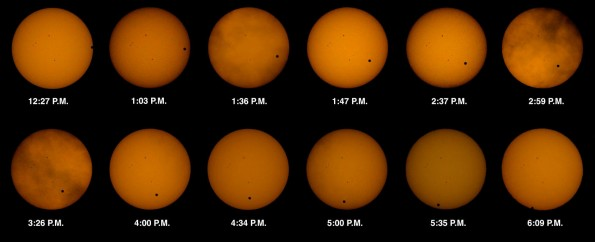 A composite of 12 photos showing the transit of Venus across the sun as seen from the Kohala Coast of the Big Island. Photography by Baron Sekiya | Hawaii 24/7