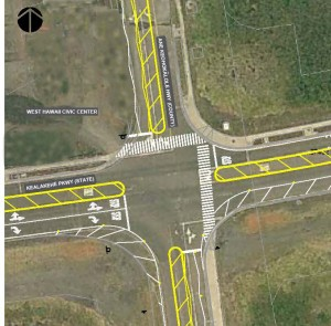 Illustration of the Ane Keohokalole and Kealakehe Parkway intersection with four-way stop markings.