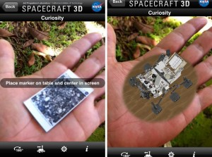 Left photo shows the printed out target in hand, the right photos shows the app locked onto the target. Once locked you can move around the spacecraft in augmented reality 3-D. Photos by Baron Sekiya | Hawaii 24/7