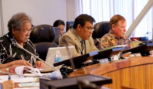 Councilmembers Angel Pilago, Chairman Dominic Yagong, Pete Hoffman listen to County Clerk Jamae Kawauchi talk about the Primary Election. Photography by Baron Sekiya   Hawaii 24/7