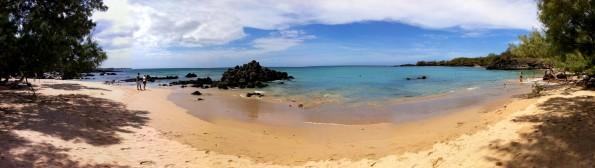 Panoramic composite photo of Waialea Beach (Beach 69) in South Kohala. Photography by Baron Sekiya | Hawaii 24/7