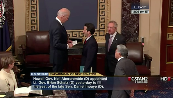 Vice President Joe Biden swears in Sen. Brian Schatz as Sen. Daniel Akaka looks on. (Image courtesy of C-SPAN)