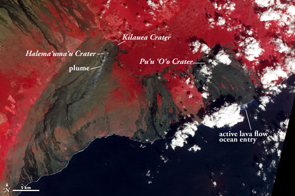 Image of Kilauea Volcano collected on January 7, 2013, by the Advanced Spaceborne Thermal Emission and Reflection Radiometer on the Terra satellite. NASA image by Jesse Allen and Robert Simmon, using data from the NASA/GSFC/METI/ERSDAC/JAROS, and U.S./Japan ASTER Science Team.