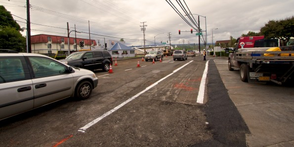 Roadwork continues Friday (Jan 18) on Kilauea Avenue at the Pauahi Street intersection. Motorists should avoid using the intersection as turns into Pauahi Street may not be allowed. Photography by Baron Sekiya   Hawaii 24/7