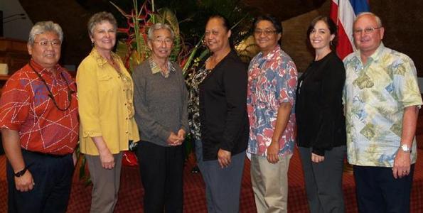 (From left) Rep. Richard Onishi; Rep. Cindy Evans; Rep. Clift Tsuji; Rep. Faye Hanohano; Rep. Mark Nakashima; Rep. Nicole Lowen; and Rep. Denny Coffman. (Photo courtesy of Rep. Cindy Evans)