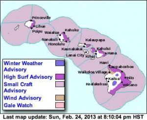 National Weather Service advisories and watches.