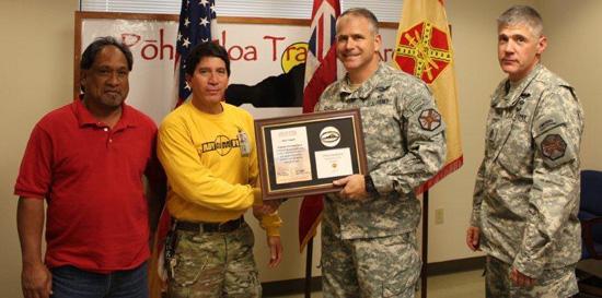 "From left: Range maintenance supervisor Gerrit Pasco, Anthony ""Tex"" Texeira, Lt. Col. Eric Shwedo, Command Sergeant Major Alan Higgs. (Photo courtesy of PTA)"