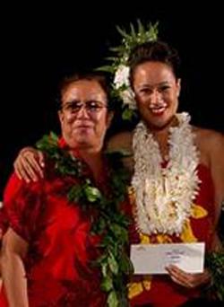 The Beamer-Solomon's Halau O Poohala's Hula Loea Kumu Hulali Solomon Covington (left) is pictured with her niece, Leiomalama Tamasese Solomon, at the Awards Ceremony for the 2012 Moku O Keawe International Hula Festival, as Leiomalama was awarded 1st place solo honors. (Photo courtesy of Beamer-Solomon Halau)