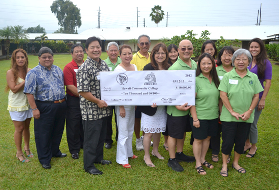 "Hawaii Community College Chancellor Noreen Yamane (center) receives a ceremonial $10,000 check from members of the Japanese Chamber of Commerce & Industry of Hawaii, including JCCIH President Jon Arizumi and JCCIH ""A Taste of Hilo"" Committee Chairman Chad Ogata. (Photo courtesy of Hawaii Community College)"