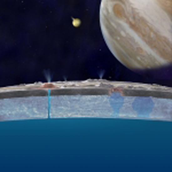 Based on new data from the W. M. Keck Observatory about Jupiter's moon Europa, astronomers hypothesize that chloride salts bubble up from the icy moon's global liquid ocean and reach the frozen surface where they are bombarded with sulfur from volcanoes on Jupiter's largest moon, Io. This illustration of Europa (foreground), Jupiter (right) and Io (middle) is an artist's concept. (Photo courtesy of NASA/JPL-Caltech)