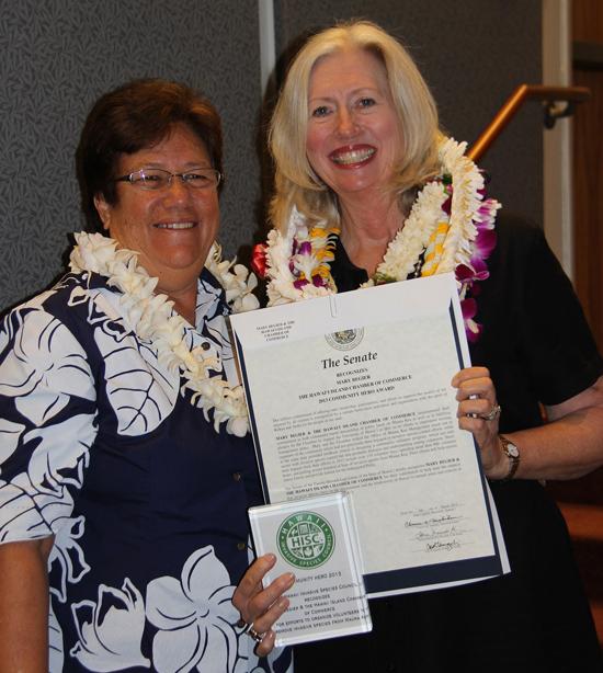 Malama Solomon and Mary Begier (Photo courtesy of Hawaii Invasive Species Council)