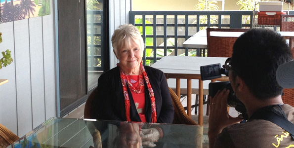 Penny Gupton is interviewed by a Japanese TV crew at her Kona home. (Photo courtesy of Penny Gupton)