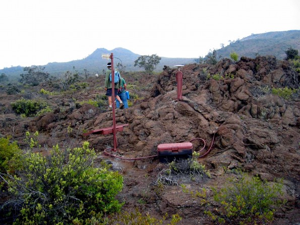 This is a typical GPS monitoring station example from Hualalai Volcano. Photo courtesy of USGS/HVO