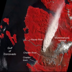 This false-color image obtained from NASA's Terra satellite on January 19, 2009, shows an ash plume (white plume spreading north, top) erupting from Chaitén Volcano. Red color indicates green vegetation. The brown color east and southeast of the volcano (lower left) shows extensive forest damage (400 square km; 155 square miles) from the early explosive eruptions, caused by ash fall and possibly by chlorine released from the magma. Scientists have concluded that magma fueling Chaiten's eruptions ultimately originates beneath Michinmahuida Volcano, 17 km (10 miles) east of Chaitén. The town of Chaitén was evacuated a few days after the eruption began on May 2, 2008, before lahars and floods inundated most of the town.