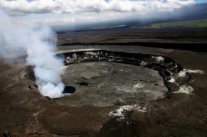 The summit eruption in Halemaʻumaʻu crater remains active on Tuesday (June 11). The lava lake is within the Overlook crater (the source of the gas plume), which is in the southeast portion of Halemaʻumaʻu Crater. Photo courtesy of USGS/HVO