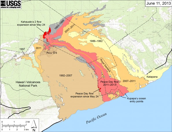 U.S. Geological Survey map showing the active Peace Day flow, carrying lava southeast to the ocean, and the active Kahaualeʻa 2 flow north of Puʻu ʻŌʻō, as of June 11, 2013. The Kahaualeʻa 2 flow started on May 6 and continues to spread slowly on the lower flank and at the northern base of the Puʻu ʻŌʻō cone. Breakouts near the base of the pali widened the western edge of the Peace Day flow, part of which is in Hawaiʻi Volcanoes National Park. Older lava flows are labeled with the years in which they were active. Episodes 1–48b (1983–1986) are shown in gray; episodes 48c–49 (1986–1992) are pale yellow; episodes 50–55 (1992–2007) are tan; and episodes 58–60 (2007–2011) are pale orange. The Peace Day lava tube is shown by the yellow line. The Peace Day tube where it crosses the coastal plain is not obvious and has not been mapped. The contour interval for topographic lines shown on Puʻu ʻŌʻō is 5 m (~16 ft).