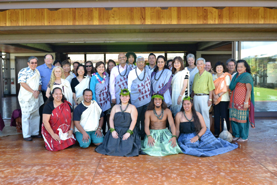 A three-person delegation from the University of Mumbai in India visit Hawaii Community College. (Photo courtesy of Hawaii Community College)
