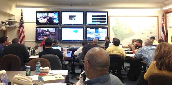 State video teleconference Monday afternoon with all Emergency Operation Centers statewide. (Photo courtesy of Mayor Billy Kenoi Office)