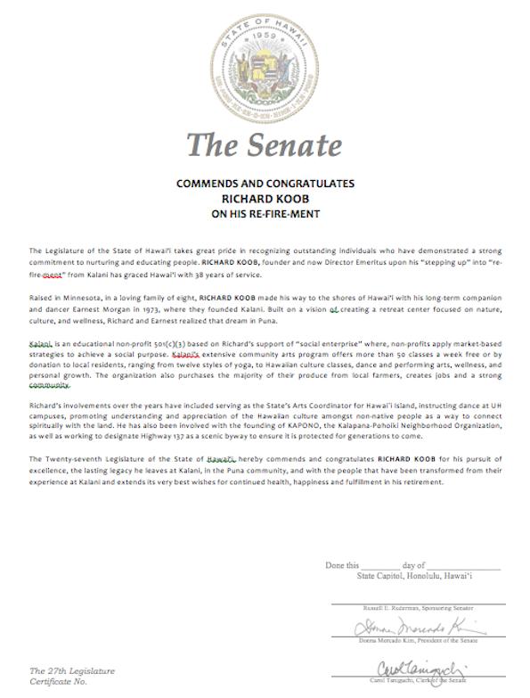 Senate certificate for Richard Koob's community  service