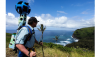 Rob Pacheco wears Google Trekker while overlooking Pololu Valley. (Photo courtesy of Hawaii Forest & Trail)