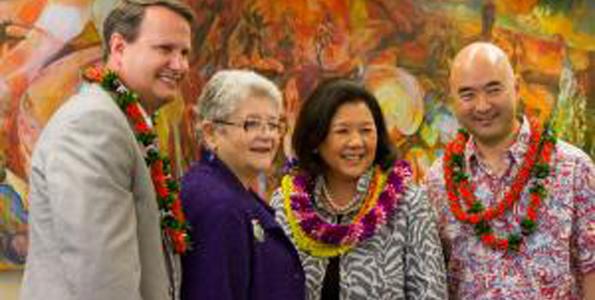 From left: Library of Congress Director of Preservation Mark Sweeney, UH System President MRC Greenwood, Irene Hirano Inouye and Ken Inouye. (Photo courtesy of University of Hawaii)