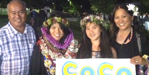 Colette Masunaga and her family - dad Gail, sister Jana and mom Margaret - at her University of California commencement at Davis in June 2013. (Photo courtesy of the Masunaga family)