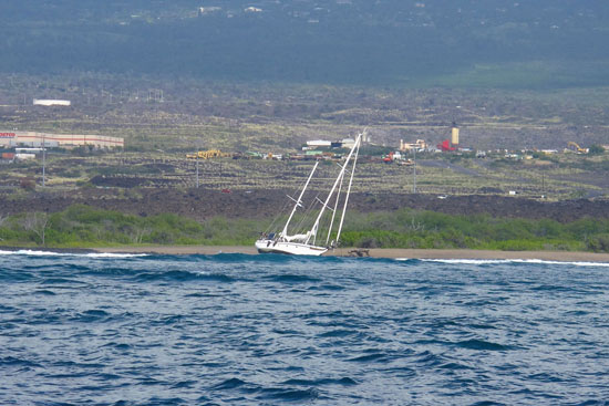 The Corsaire stuck on a reed off Kaloko-Honokohau National Historical Park. (Photo courtesy of Andrew Cooper)