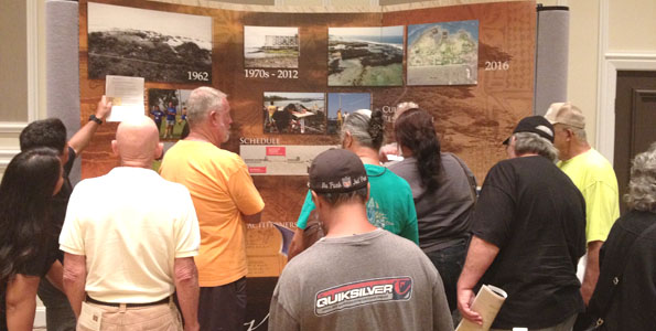 Residents peruse displays at the Oct. 17 meeting with Kamehameha Schools officials. (Photo special to Hawaii 24/7)