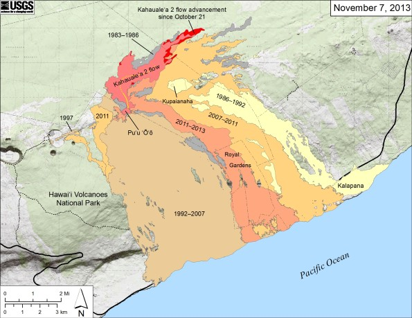 Small-scale map showing Kīlauea's east rift zone flow field as of November 7, 2013. The Peace Day flow (light orange), which began September 21, 2011, is no longer active. All east rift zone eruptive activity is now focused into the Kahaualeʻa 2 flow, which is advancing slowly toward the northeast from Puʻu ʻŌʻō. The Kahaualeʻa 2 flow as of October 21 is shown in pink, while advancement of the flow as of November 7 is shown in red. Older lava flows are labeled with the years in which they were active: episodes 1–48b flows (1983–1986) are shown in gray; episodes 48c–49 flows (1986–1992) are pale yellow; episodes 50–55 flows (1992–2007) are tan; and episodes 58–60 flows (2007–2011) are pale orange. The active lava tube is shown with a yellow line.