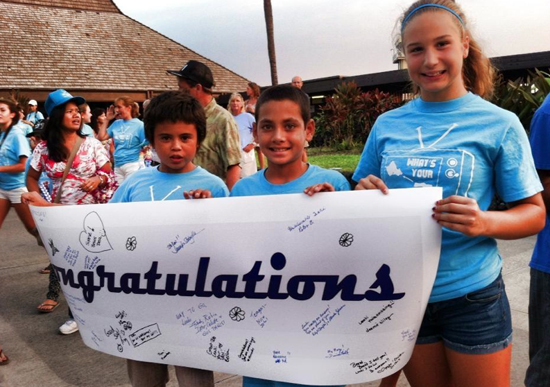 Some young fans wait for Leahi Camacho to arrive at Kona International Airport. (Photo courtesy of Rob Vangeen)