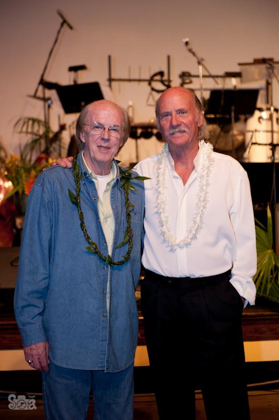 "Kent and Gary Washburn at the premier of Gary's original music, ""Earth Life: October Full Moon,"" in Honokaa. (Photo courtesy of Sarah Anderson Photography)"