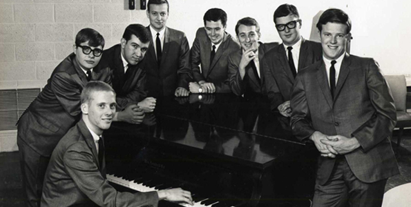 Circa 1963-64, the Shadow Lake Eight was considered one of the best dance bands in Oklahoma. Gary Washburn far left, Kent Washburn, far right. (Photo courtesy of Kent Washburn)