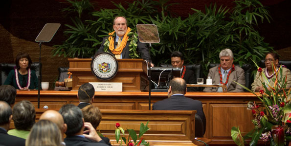 Gov. Neil Abercrombie appeared Tuesday, Jan. 21 at the state Legislature to deliver his annual State of the State Address. (Photo courtesy of the Governor's Office)