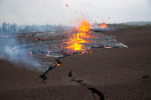 Lava reached the surface along an actively propagating fissure during Kīlauea Volcano's Kamoamoa eruption on March 5, 2011.