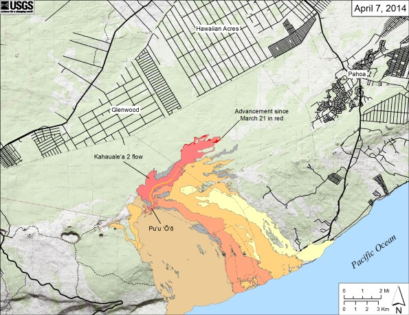 Map showing the Kahaualeʻa 2 flow in relation to the eastern part of the Big Island as of April 7, 2014. The active front of the Kahaualeʻa 2 flow was 8.2 km (5.1 miles) northeast of Puʻu ʻŌʻō and advancing very slowly through thick forest. The area of the Kahaualeʻa 2 flow as of March 21 is shown in pink, while widening of the flow since then is shown in red. Older lava flows are distinguished by color: episodes 1–48b flows (1983–1986) are shown in gray; episodes 48c–49 flows (1986–1992) are pale yellow; episodes 50–55 flows (1992–2007) are tan; episodes 58–60 flows (2007–2011) are pale orange, and episode 61 flows (2011–2013) are reddish orange. The active lava tube is shown with a yellow line (dashed where its position is poorly known).