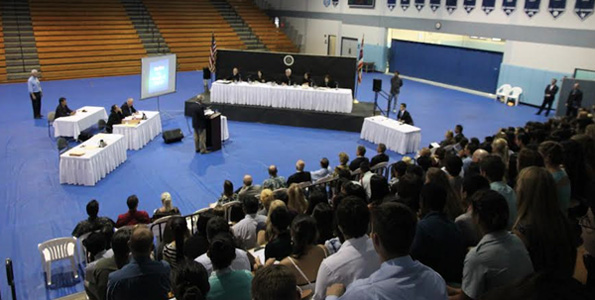 Approximately 600 students watched a Hawaii Supreme Court oral argument in Kailua-Kona. After the proceeding, the students had the opportunity to participate in a question-and-answer session with the justices. (Photo courtesy of Hawaii State Judiciary)