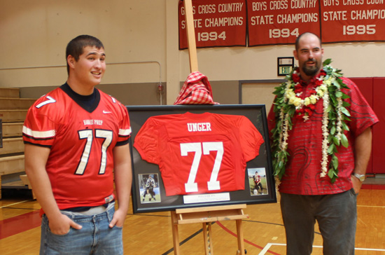 Trio of 77s: Keenan Greenbaum, The Jersey and Max Unger. (Hawaii 24/7 photo by Karin Stanton)