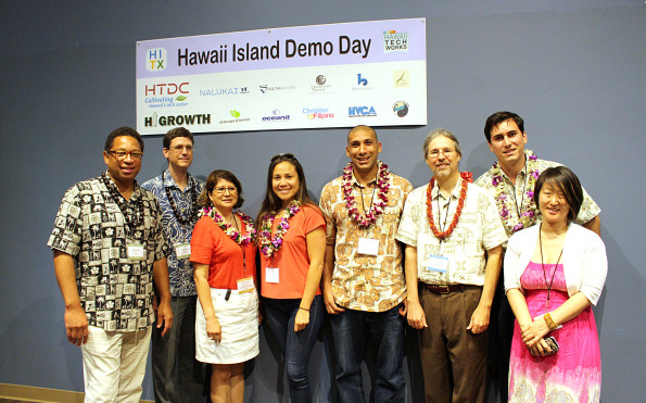 Demo Day winners with the judges and staff of Hawaii Tech Exchange and Hawaii Tech Works. Photography by Denise Laitinen