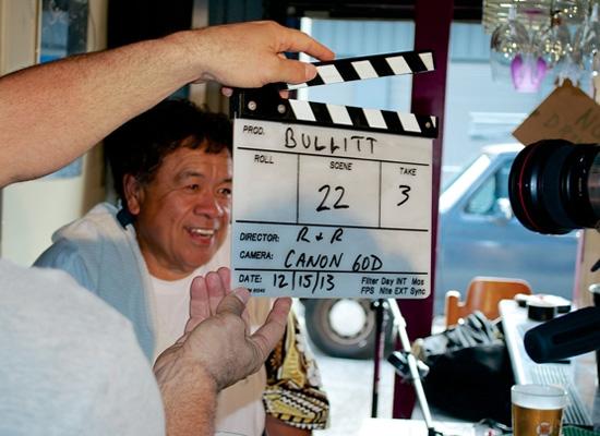 Chef Sam Choy gets ready for a Bullitt scene. (Photo courtesy of GIFilms)