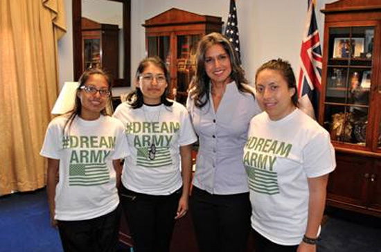 Congresswoman Tulsi Gabbard meets with Military DREAMers Jennifer, Maria, and Miriam in her Washington, DC office. (Photo courtesy of Rep. Gabbard's Office)