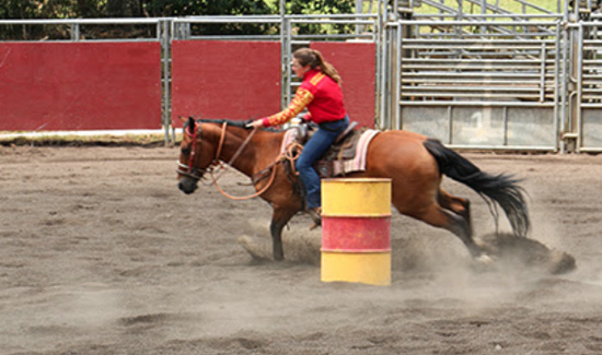 Leiana Rose Andrade Stout, 13, great granddaughter of Rose Andrade Correia, was among the first people to ride in the newly improved arena. (Photo courtesy of Hawaii County)