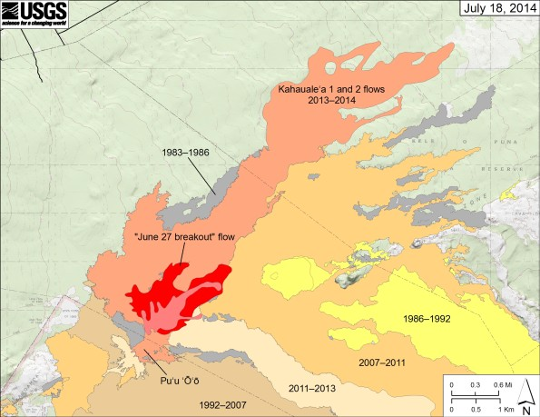 """Map showing the """"June 27 breakout"""" flow at Puʻu ʻŌʻō in Kīlauea's East Rift Zone. The area of the new flow as mapped on June 30 is shown in pink, while widening of the flow as July 18 is shown in red. Older lava flows are distinguished by color: episodes 1–48b flows (1983–1986) are shown in gray; episodes 48c–49 flows (1986–1992) are yellow; episodes 50–55 flows (1992–2007) are tan; episodes 58–60 flows (2007–2011) are pale orange; the 2011–2013 episode 61 flows are very light tan; and the 2013–2014 Kahaualeʻa flows are reddish orange."""
